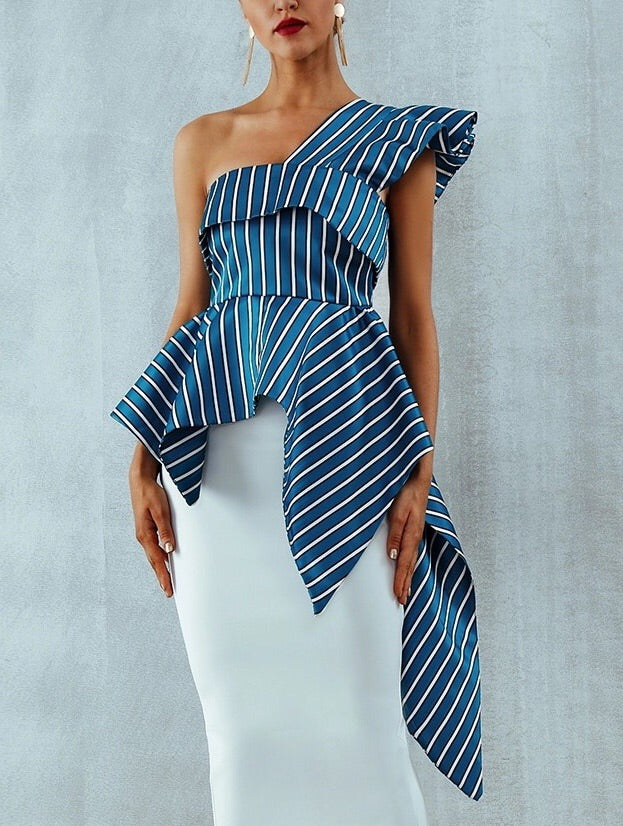 """CLAUDIA"" One Shoulder Striped Top - Blue and White"