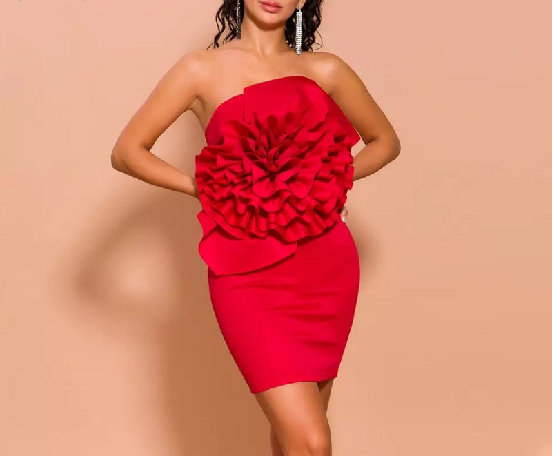"""BAI"" Flower Bandage Mini Dress - Red"