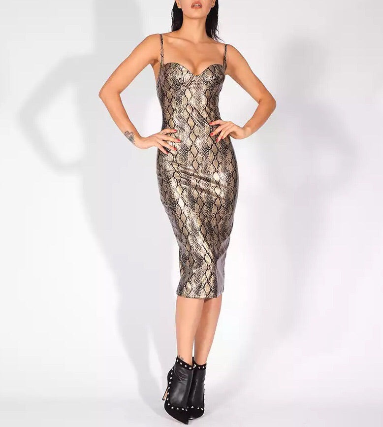 """KATIA"" Snake Bandage Bustier Dress - Gold - Bleu Luxury"