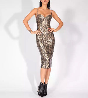 """KATIA"" Snake Bandage Bustier Dress - Gold"