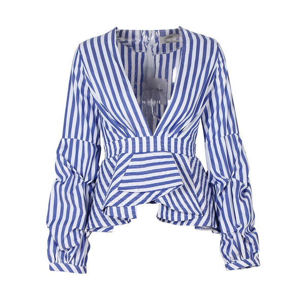 'Elira' Cinched Stripe Top - Blue and White - Bleu Luxury