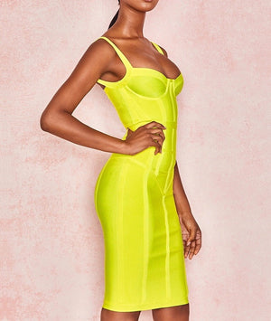 """Neela"" Bright Bandage Dress - Yellow - Bleu Luxury"