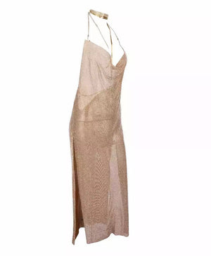 """VERENA"" Crystal Mesh Maxi Dress - Gold - Bleu Luxury"