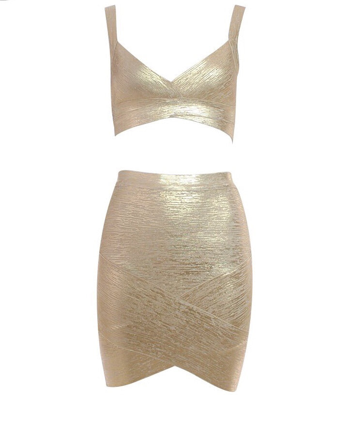 """SOOKIE"" Two Piece Gold Bandage Mini Dress - Bleu Luxury"