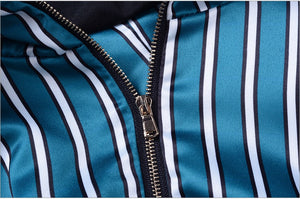 """CLAUDIA"" One Shoulder Striped Top - Blue and White - Bleu Luxury"