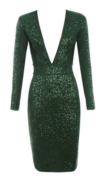 'Maja' Deep V Sequin Midi Dress - Green - Bleu Luxury