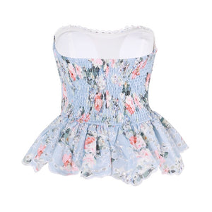 """ABBY"" Flower Peplum Top- Blue or White"