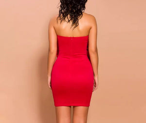 """BAI"" Flower Bandage Mini Dress - Red - Bleu Luxury"