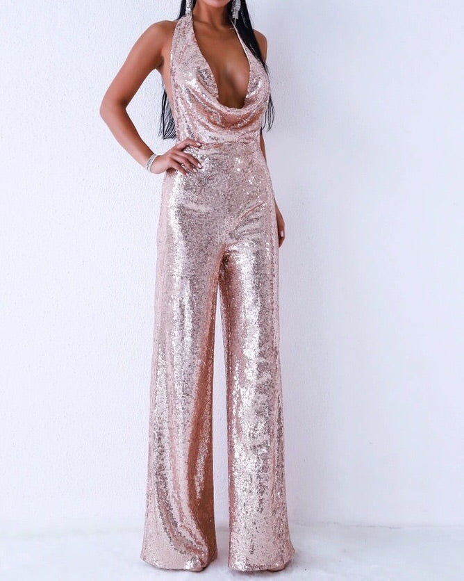 """ZOHA"" Sequin Backless Jumpsuit"