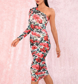 """MEADOW"" Floral One Shoulder Dress - Red - Bleu Luxury"