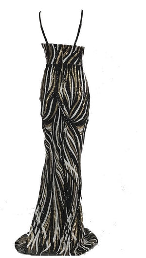 """KATERINA"" Sequin Stripe Party Dress"