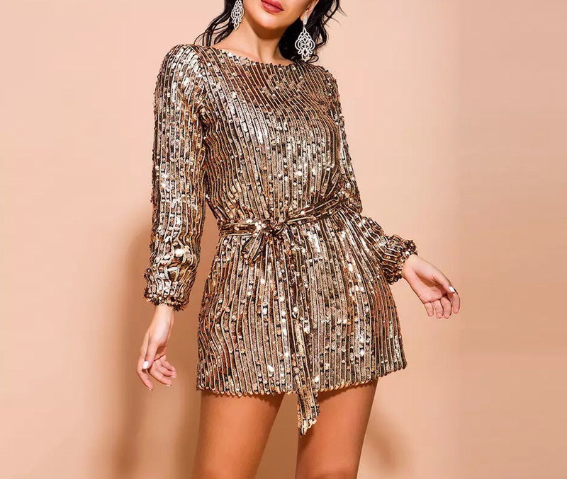 """MEGEN"" Sequin Belted Mini Dress - Gold"