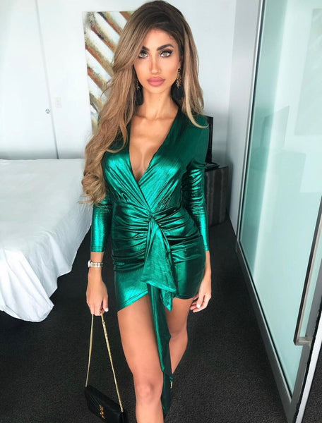 'Linza' Cinched Shimmer Mini Dress - Emerald