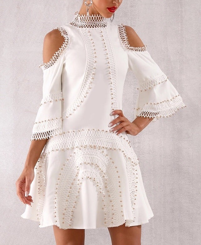 """JASMIN"" Lace Bell Sleeve Dress"