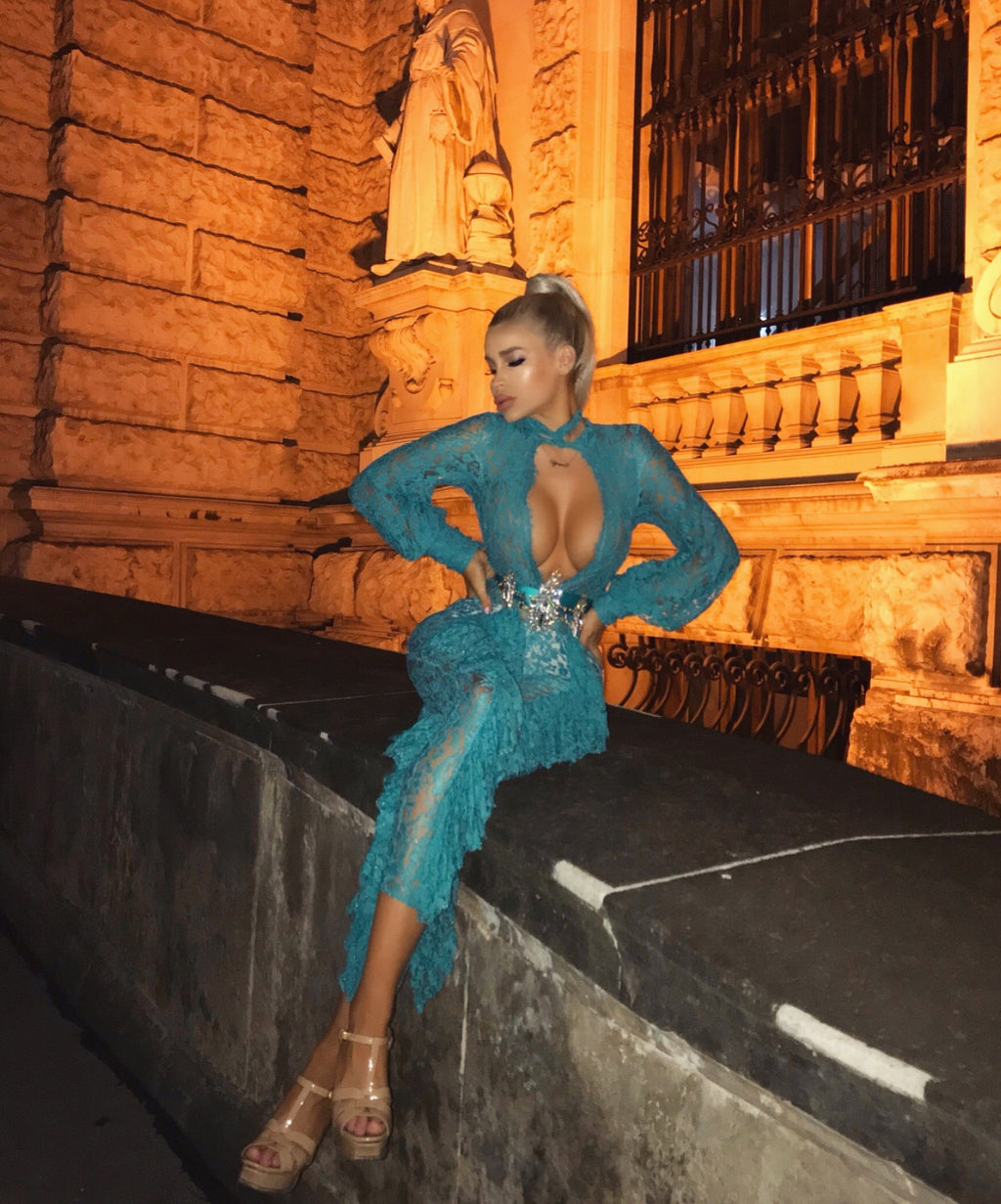 """VLORA"" Ruffled Lace Jumpsuit - Teal - Bleu Luxury"