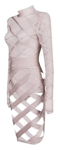 'Karyn' Mesh Bandage Dress - Nude - Bleu Luxury