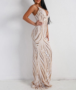 """KATERINA"" Sequin Stripe Party Dress - Bleu Luxury"