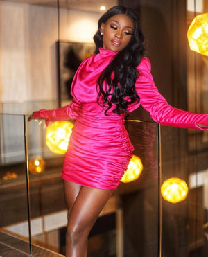 'Sahar' Silk Mini Dress - Pink - Bleu Luxury