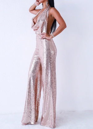 """ZOHA"" Sequin Backless Jumpsuit - Bleu Luxury"