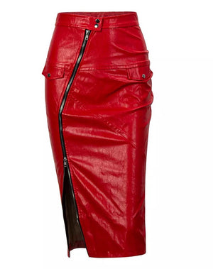"""HARLOW"" Leather Zipper Midi Skirt - Red - Bleu Luxury"