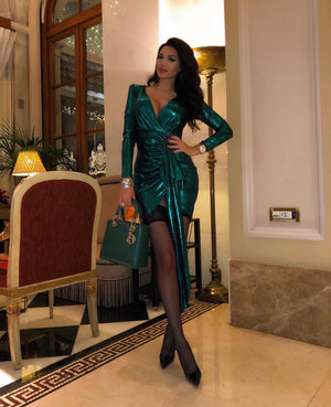 """LINZA"" Cinched Shimmer Mini Dress - Emerald - Bleu Luxury"