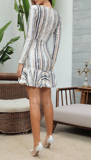 """POSIE"" Sequin Stripe Mini Dress - Bleu Luxury"