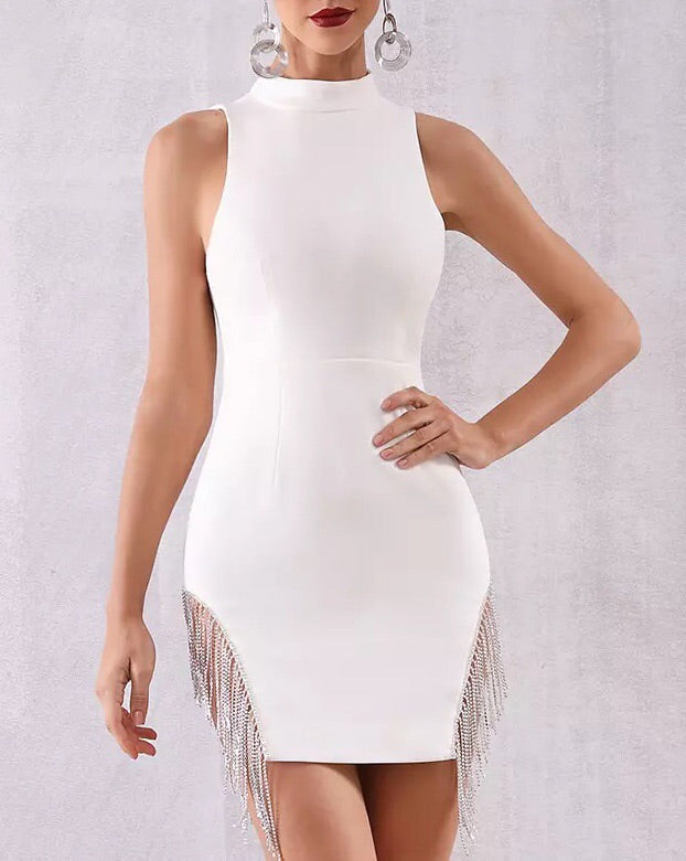 """PALOMETA"" Crystal Fringe Bandage Dress - Black and White - Bleu Luxury"