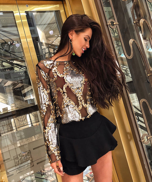 'Varvara' Sheer Mesh Sequin Blouse - Black