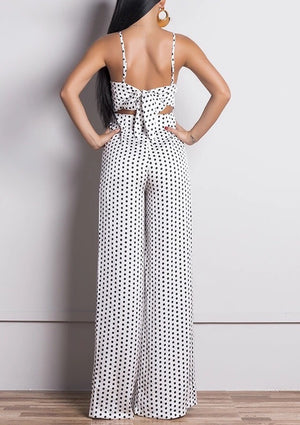 """EVIAN"" BACKLESS POLKA DOT JUMPSUIT"