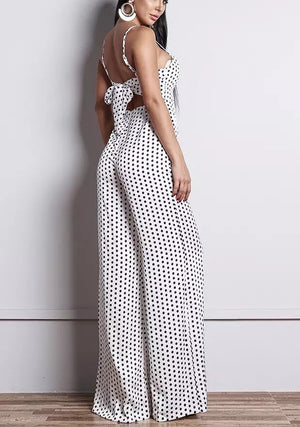 """EVIAN"" BACKLESS POLKA DOT JUMPSUIT - Bleu Luxury"