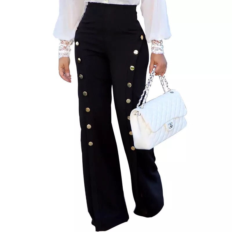 """PHEBE"" HIGH WAIST BUTTON PANTS - Bleu Luxury"
