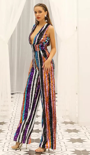"""CALLY"" SEQUIN STRIPED JUMPSUIT"