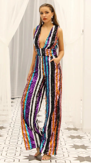 """CALLY"" SEQUIN STRIPED JUMPSUIT - Bleu Luxury"