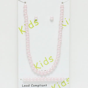 Kids Pink Pearl Necklace with Earrings