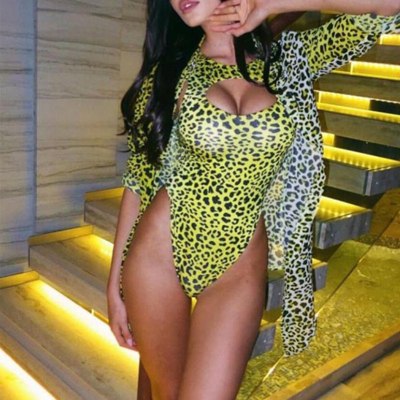 """KASIA"" LEOPARD EXTREME BRAZILIAN ONE PIECE - Bleu Luxury"