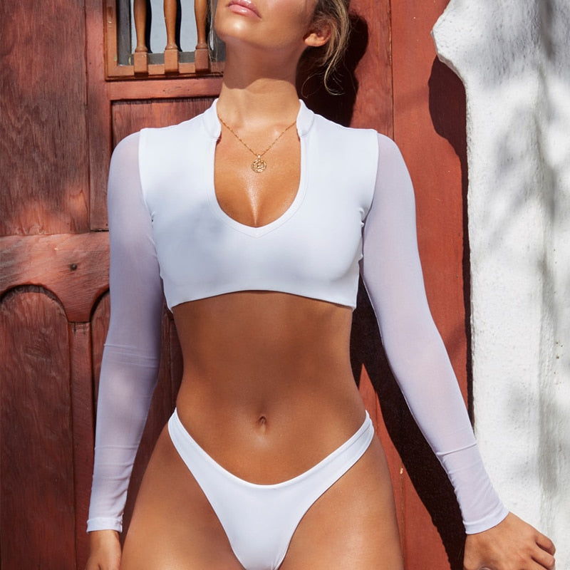 """AILA"" LONG SLEEVE BRAZILIAN HIGH CUT BIKINI WITH MESH - Bleu Luxury"