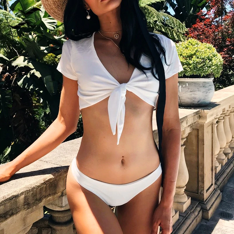 """BELLA"" SHORT SLEEVE CROP TOP BIKINI"