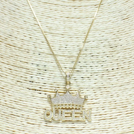 KIDS GOLD QUEEN CUBIC ZIRCONIA PENDANT NECKLACE