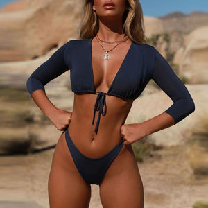 """GLENDA"" LONG SLEEVE TIE THONG BIKINI - Bleu Luxury"