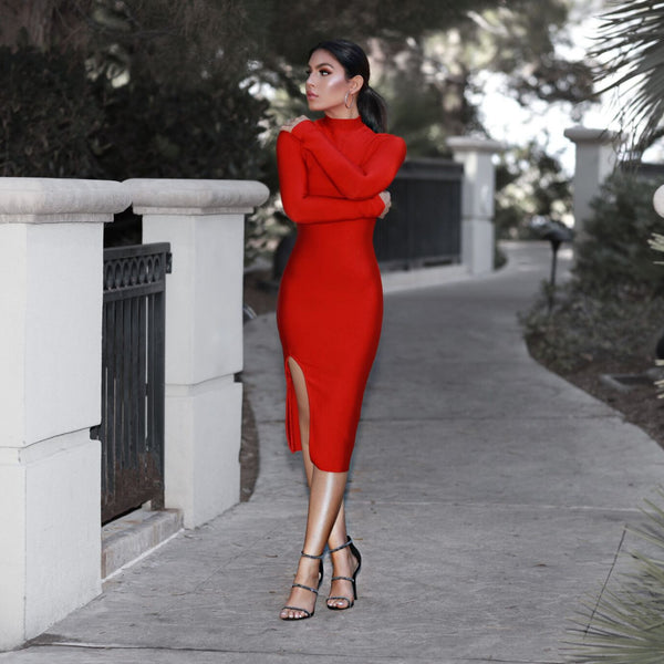 'Denarra' Long Sleeve Bandage Dress - Red