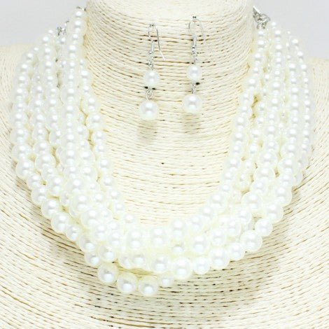 White Pearl Layered Necklace Short with Pearl Earrings