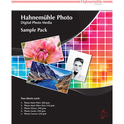 "Hahnemuhle Photo Sample Pack 8.5"" x 11"" 14 sheets - Print-Scan-Present - Hahnemuhle - Helix Camera"