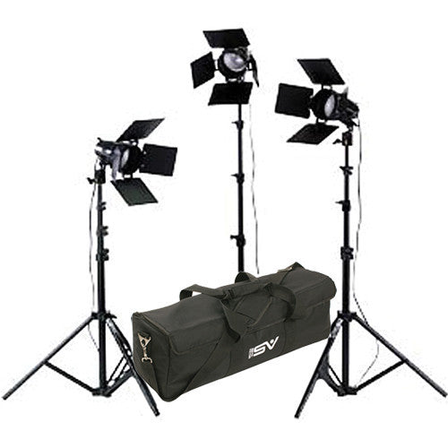 Smith Victor K33B 3-Light 1800-watt Portable Attache Kit with Barndoors (401420) - Lighting-Studio - Smith-Victor - Helix Camera