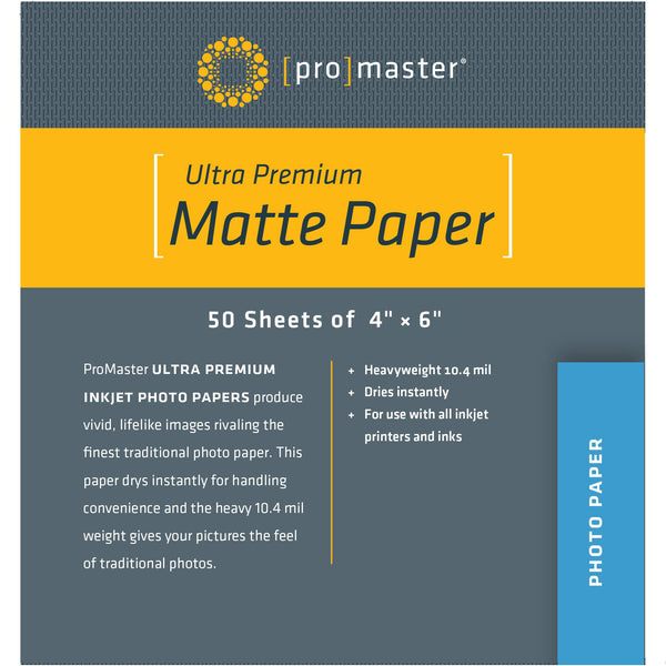"ProMaster Ultra Premium Matte Paper - 4""x6"" - 50 Sheets - Print-Scan-Present - ProMaster - Helix Camera"