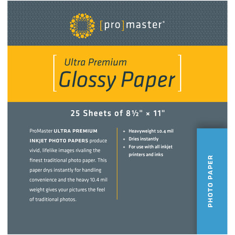 "ProMaster Ultra Premium Glossy Paper - 8 1/2""x11"" - 25 Sheets - Print-Scan-Present - ProMaster - Helix Camera"