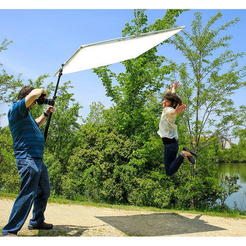 Fotodiox Pro Studio Solutions 122cm x 122cm (4ft x 4ft) Sun Scrim - Collapsible Frame Diffusion & Silver/White Reflector Kit with Boom Handle and Carry Bag