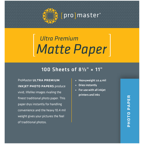 "ProMaster Ultra Premium Matte Paper - 8 1/2""x11"" - 100 Sheets - Print-Scan-Present - ProMaster - Helix Camera"