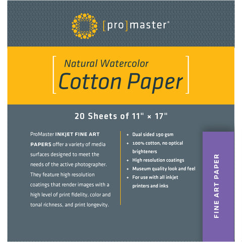 "ProMaster Natural Watercolor Cotton Paper - 11""x17"" - 20 Sheets - Print-Scan-Present - ProMaster - Helix Camera"