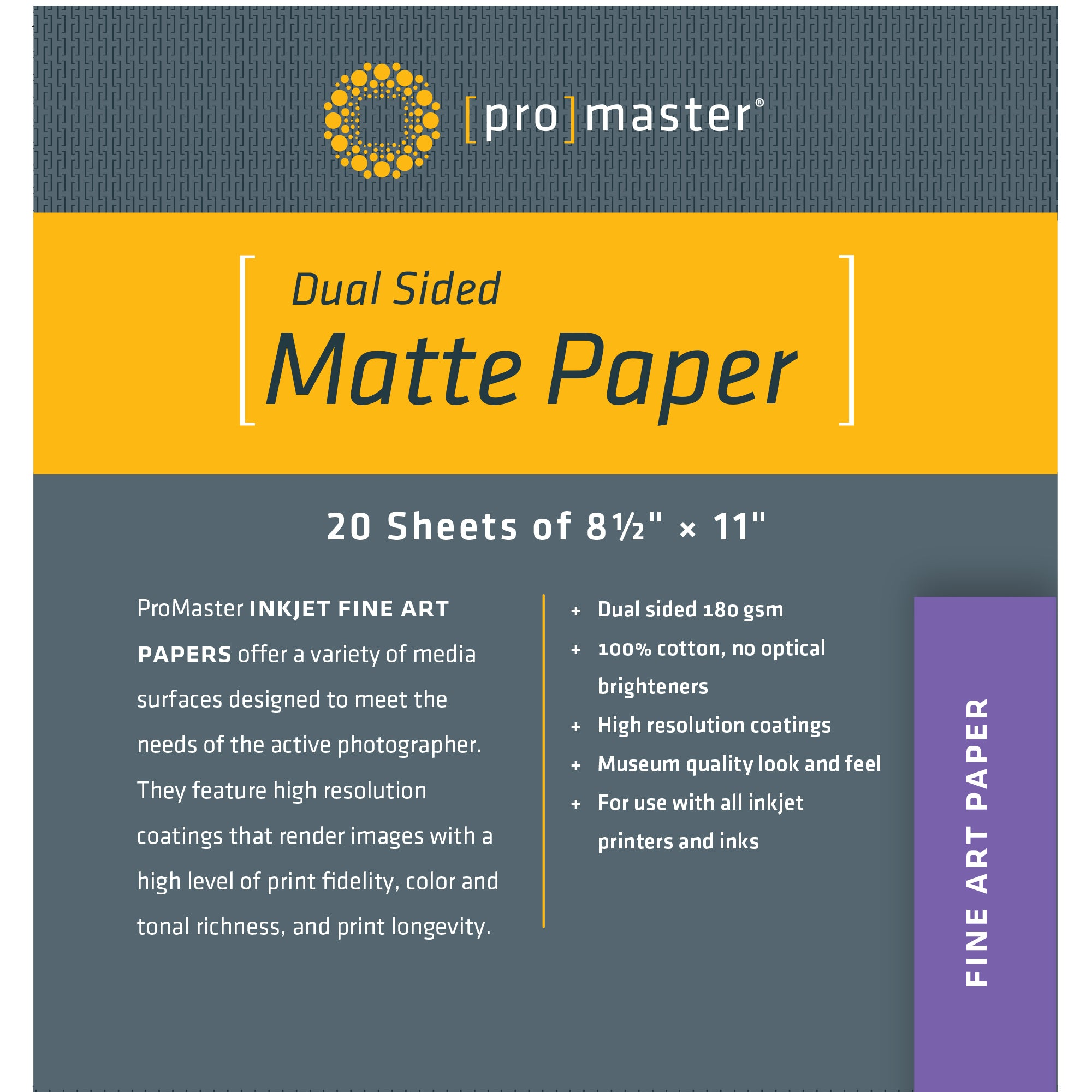 "ProMaster Dual Sided Matte Paper - 8 1/2""x11"" - 20 Sheets - Print-Scan-Present - ProMaster - Helix Camera"
