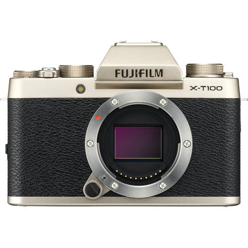 Fujifilm X-T100 Mirrorless Camera Body - Champagne Gold